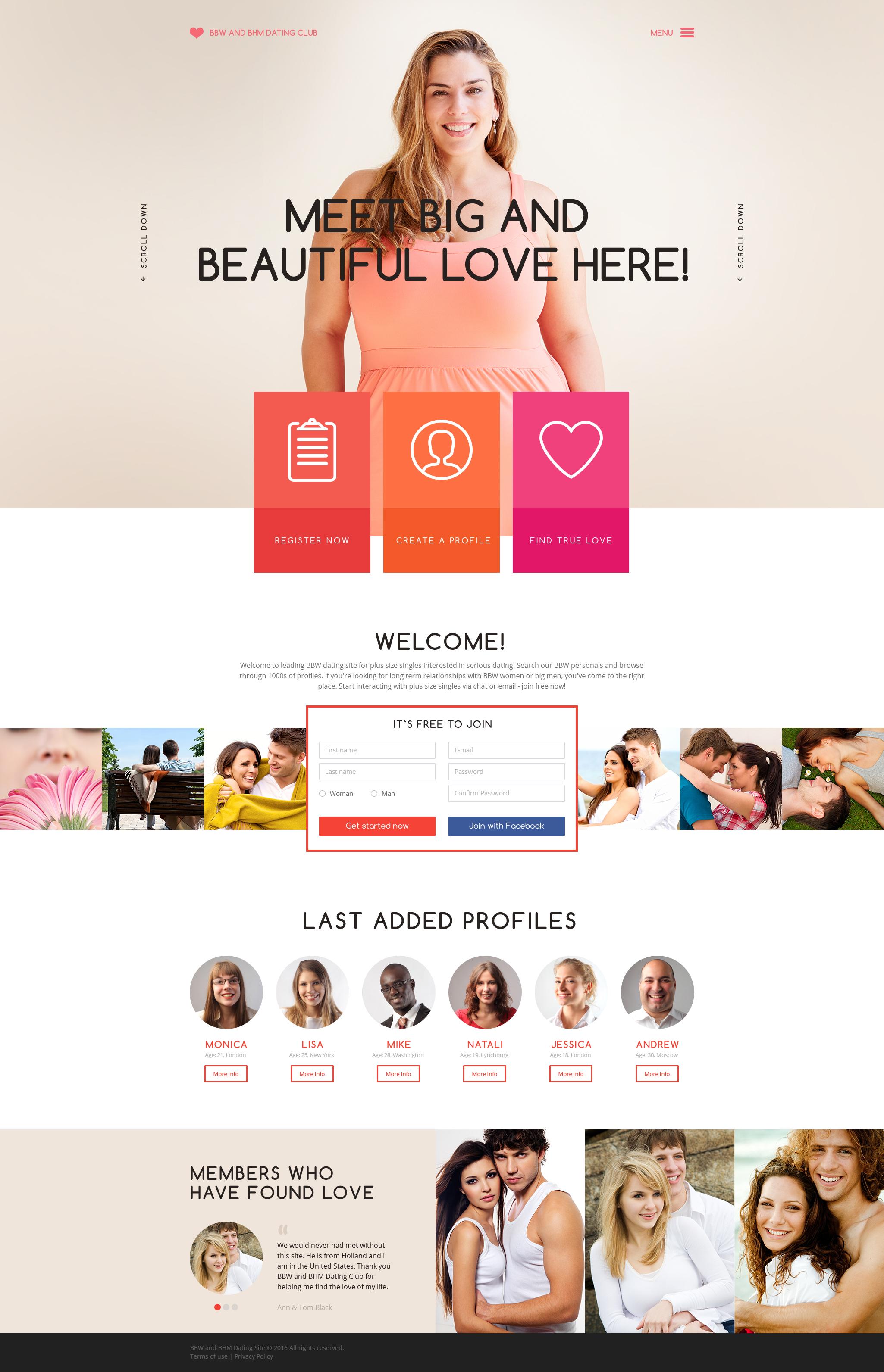 Responsive Website Vorlage für Partnersuche #58784