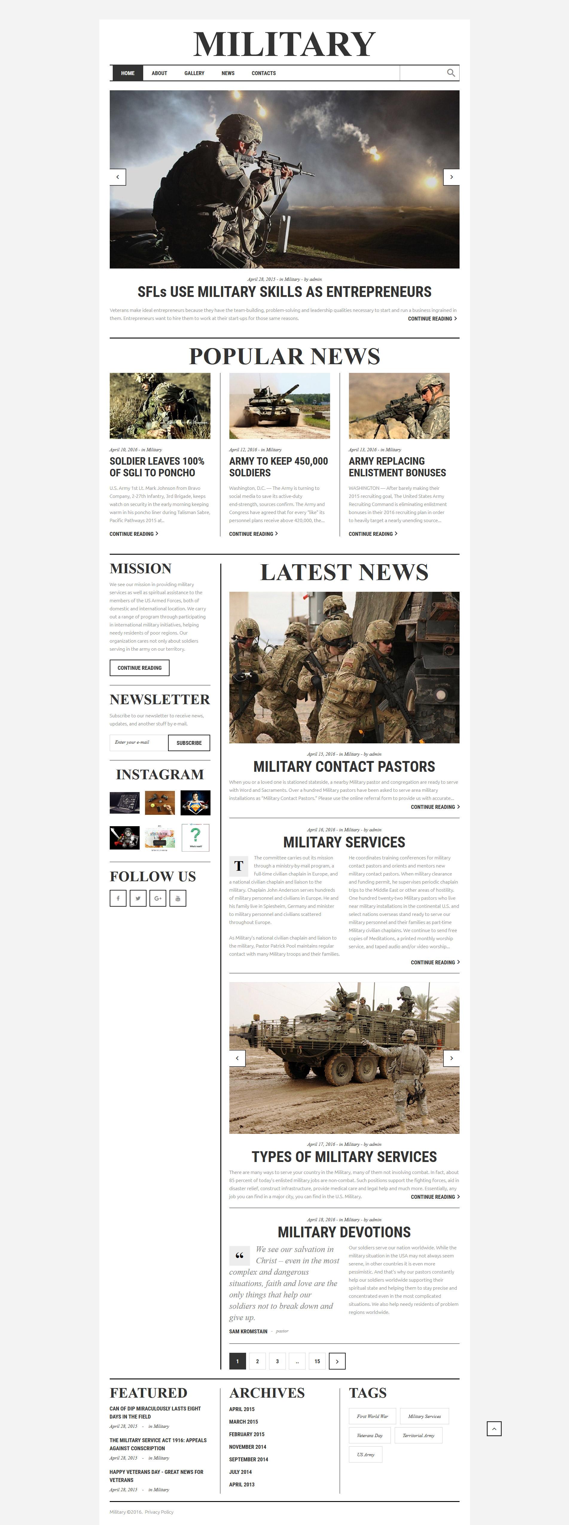 Reszponzív Katonaság Weboldal sablon 58754