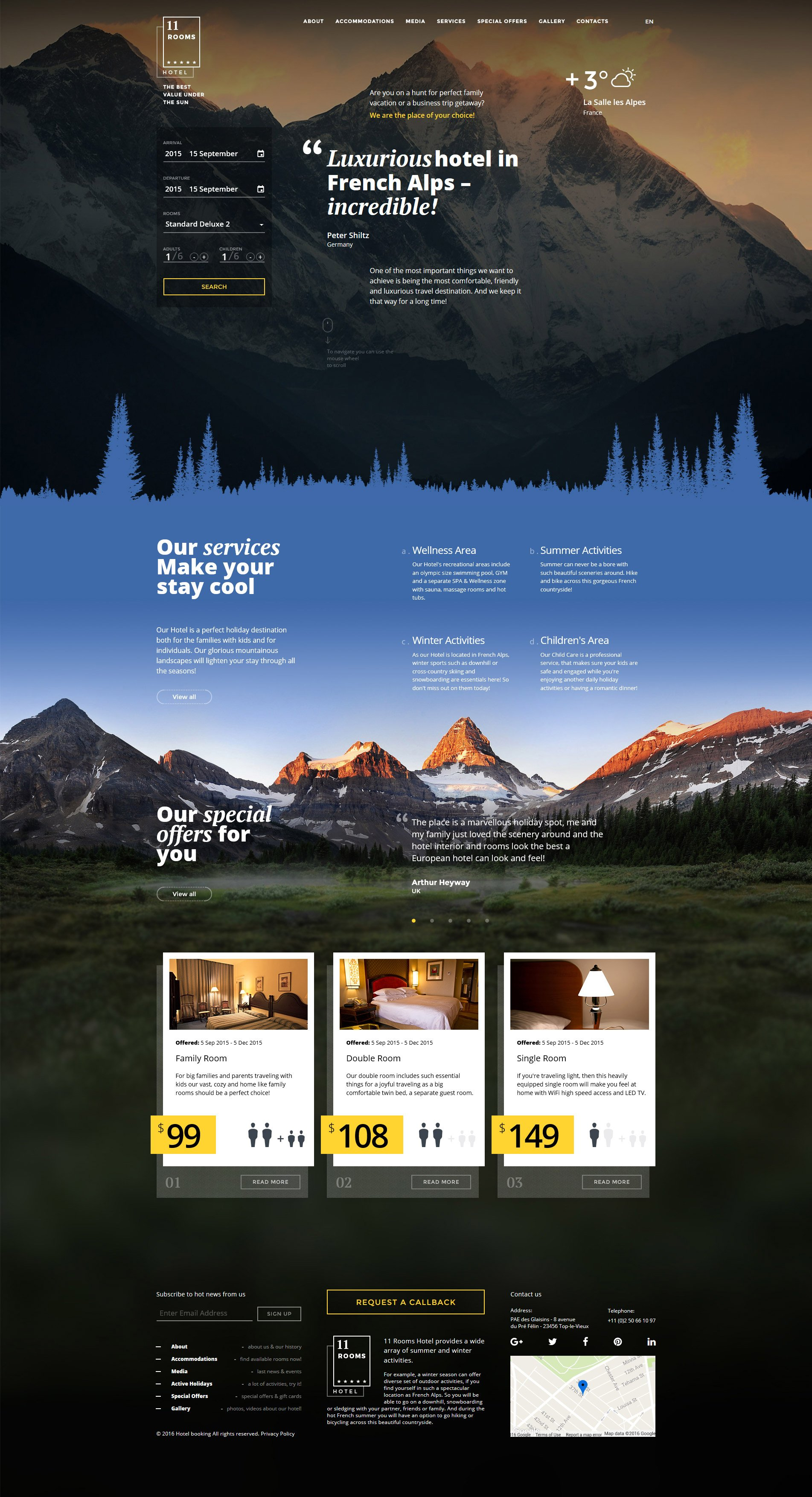 11 rooms Responsive Website Template - screenshot