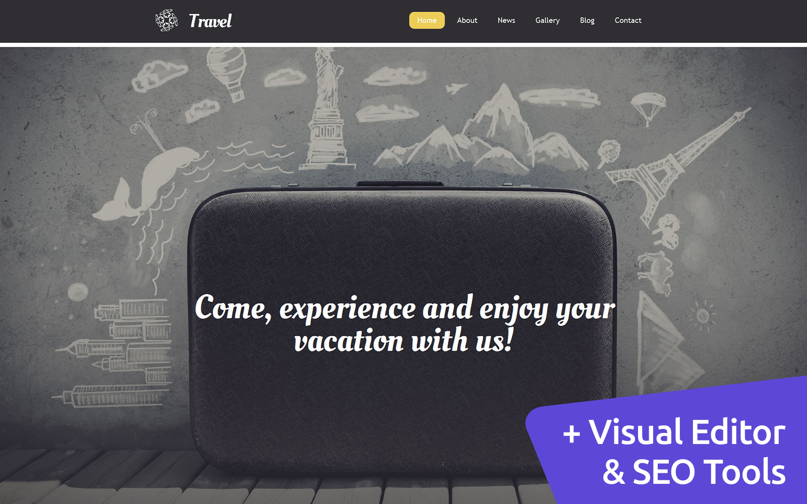 """Travel Agency"" Responsive Moto CMS 3 Template №58795"