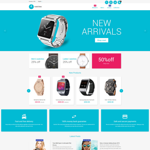 Watches - Magento Template based on Bootstrap