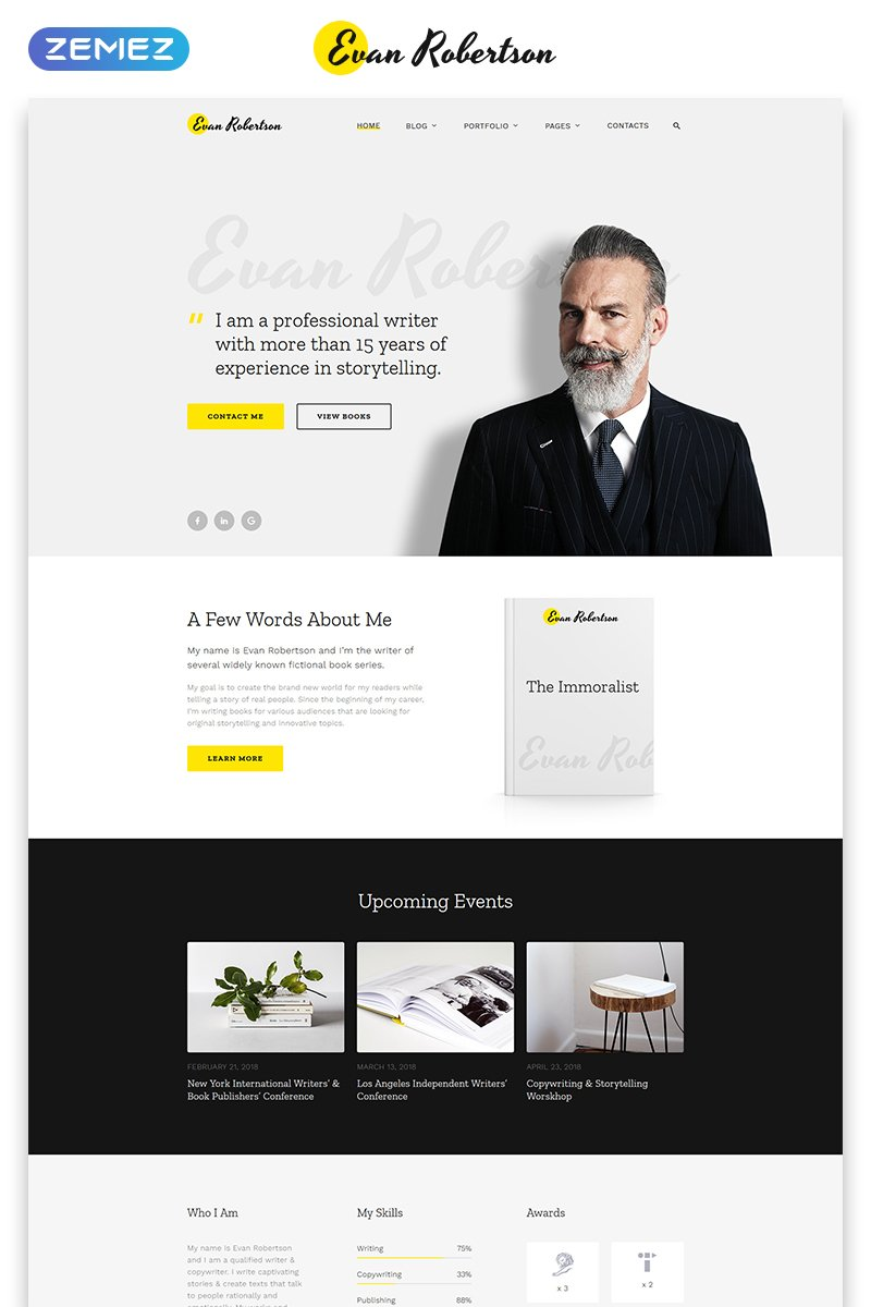 writer author responsive website template 58740. Black Bedroom Furniture Sets. Home Design Ideas