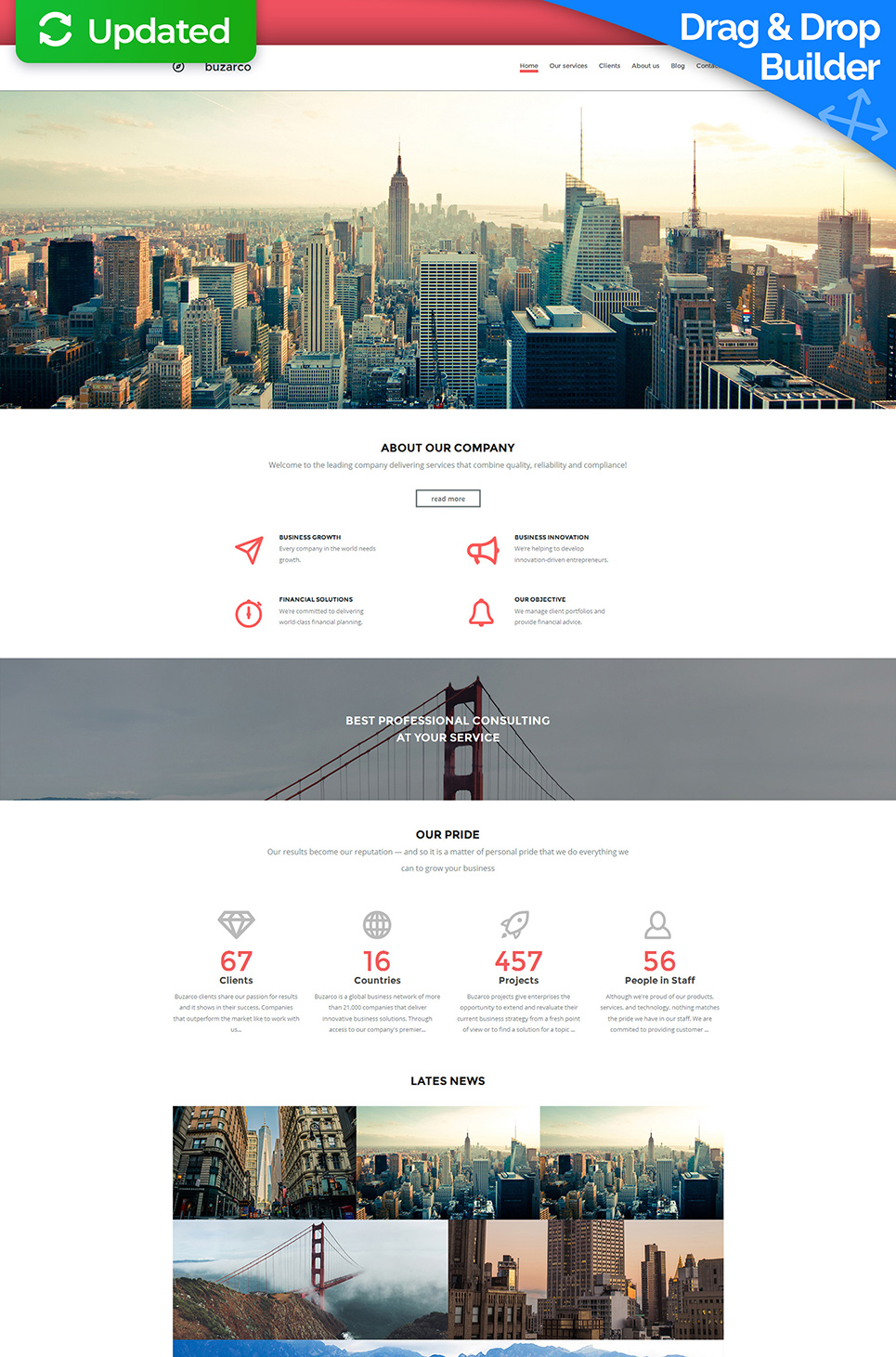 White web template for various projects