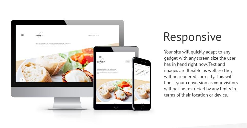 Savour Restaurant Responsive Website Template with Slider, Carousel, Video Integration, Blog