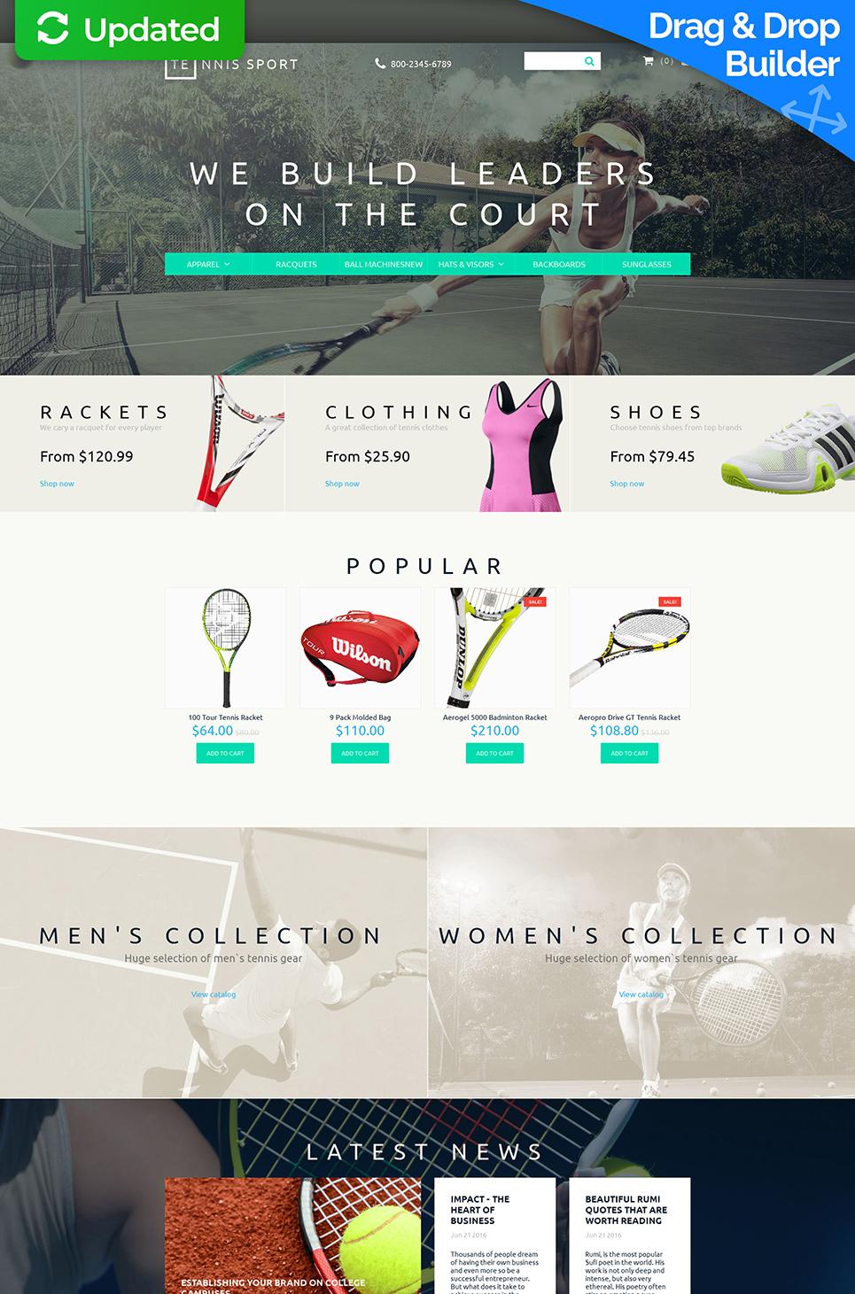 Tennis Sport Ecommerce Website Template - image