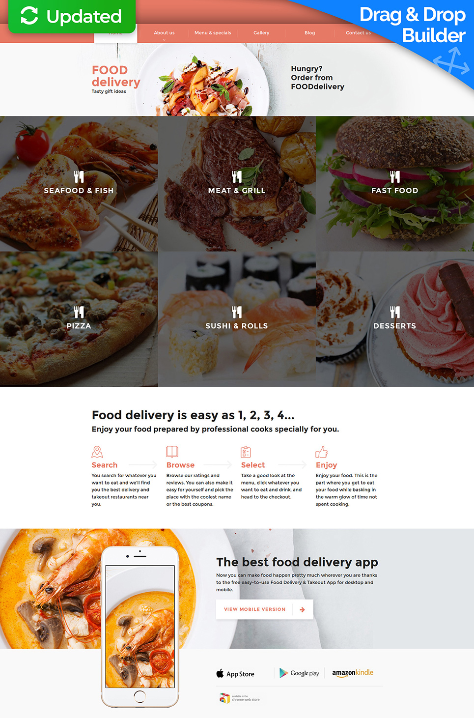 Food delivery site with blog