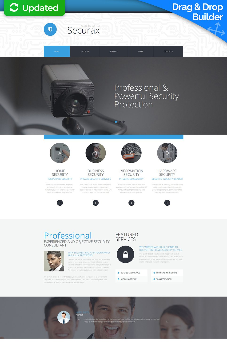 Responsive site for security provider