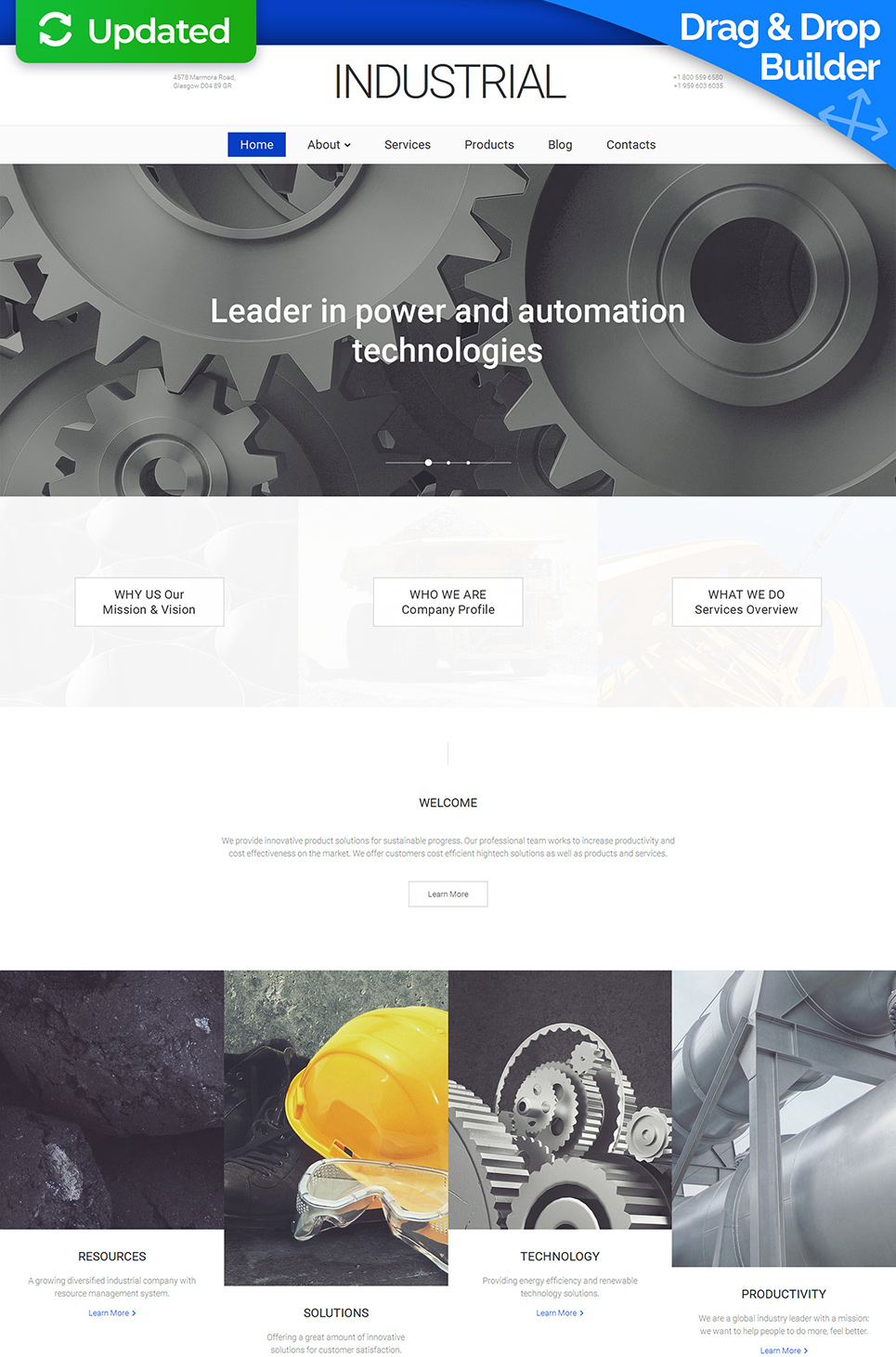Minimalistic web design for manufacturers
