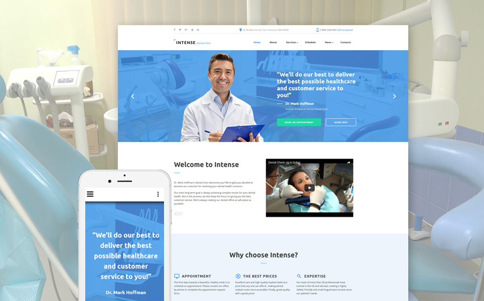Intense Dental Clinic template illustration image