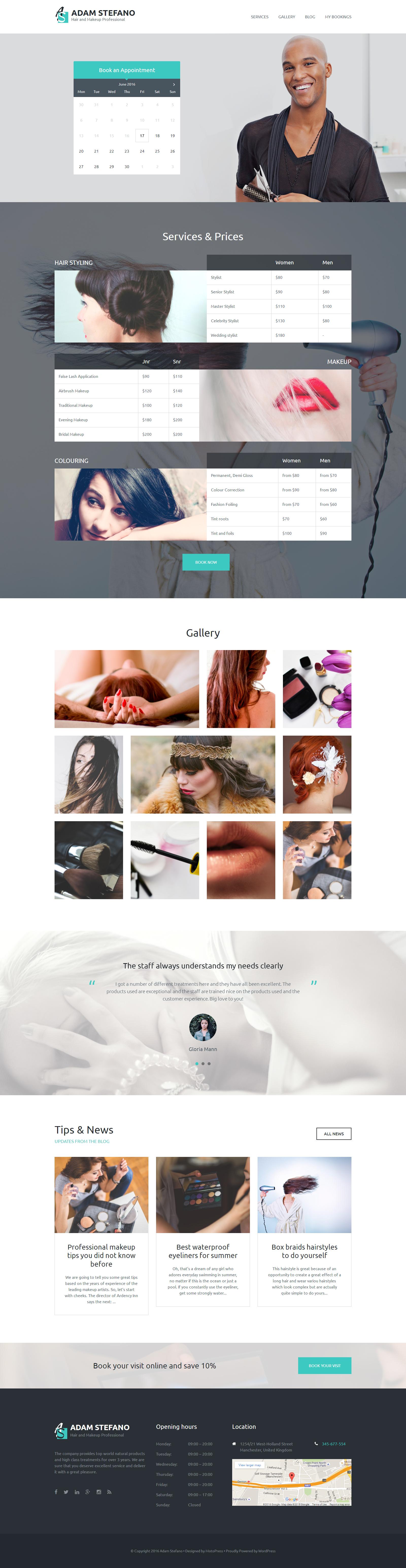 """Adam Stefano - Hair & Makeup Professional"" thème WordPress adaptatif #58877"