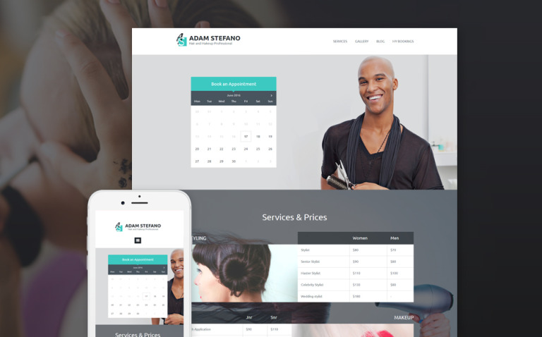 Adam Stefano - Hair & Makeup Professional WordPress Theme New Screenshots BIG