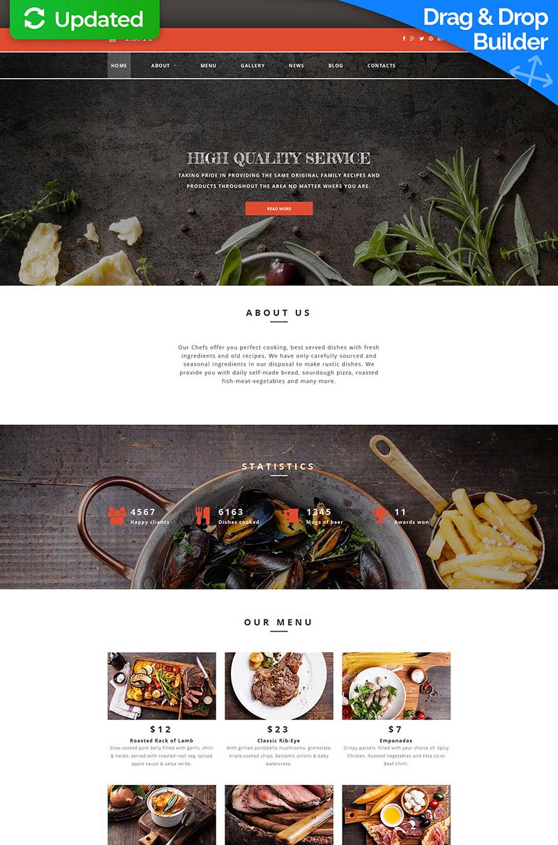 Адаптивный MotoCMS 3 шаблон №58848 на тему кафе и ресторан