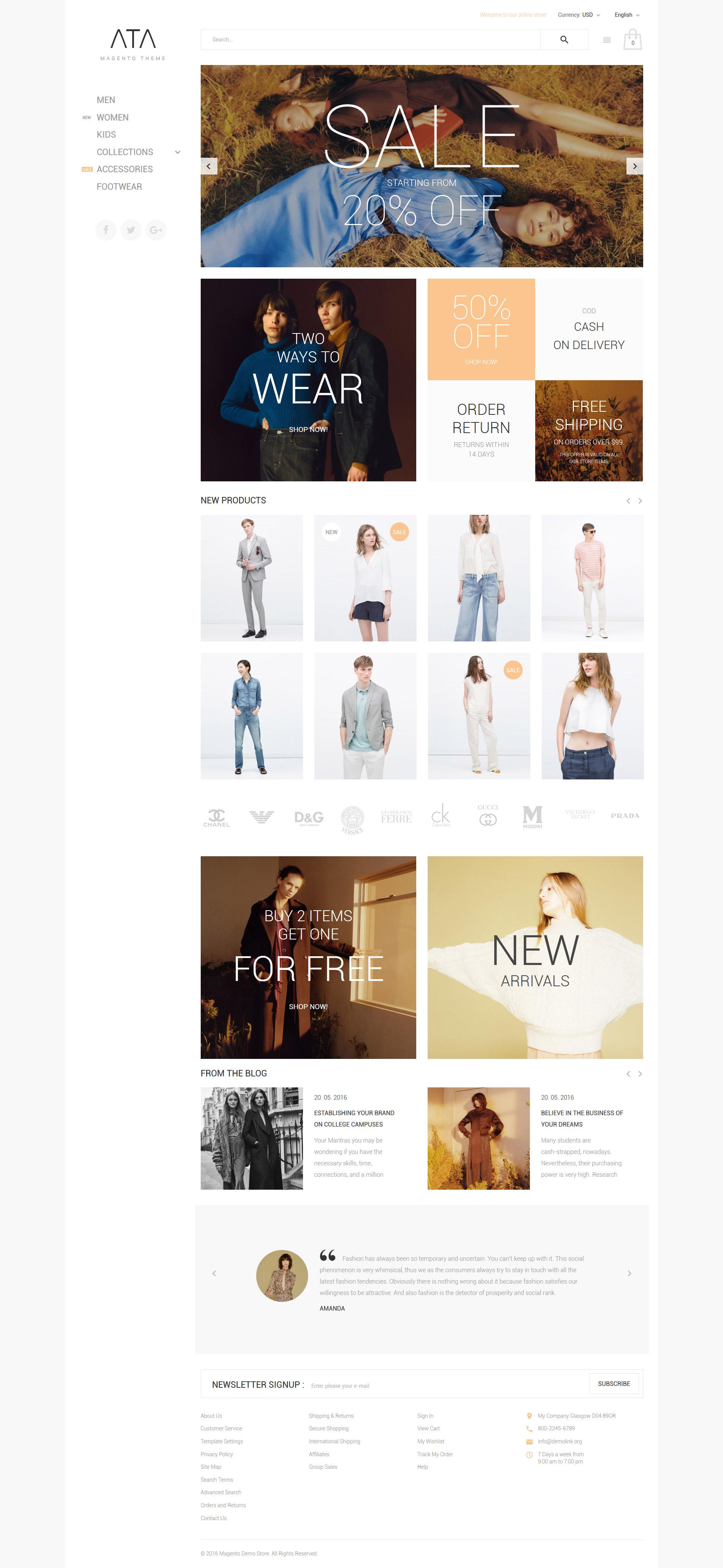 ATA - Fashion Magento Theme - screenshot