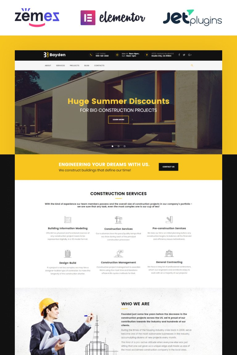 Bayden - Architecture & Construction Company Responsive WordPress Theme New Screenshots BIG