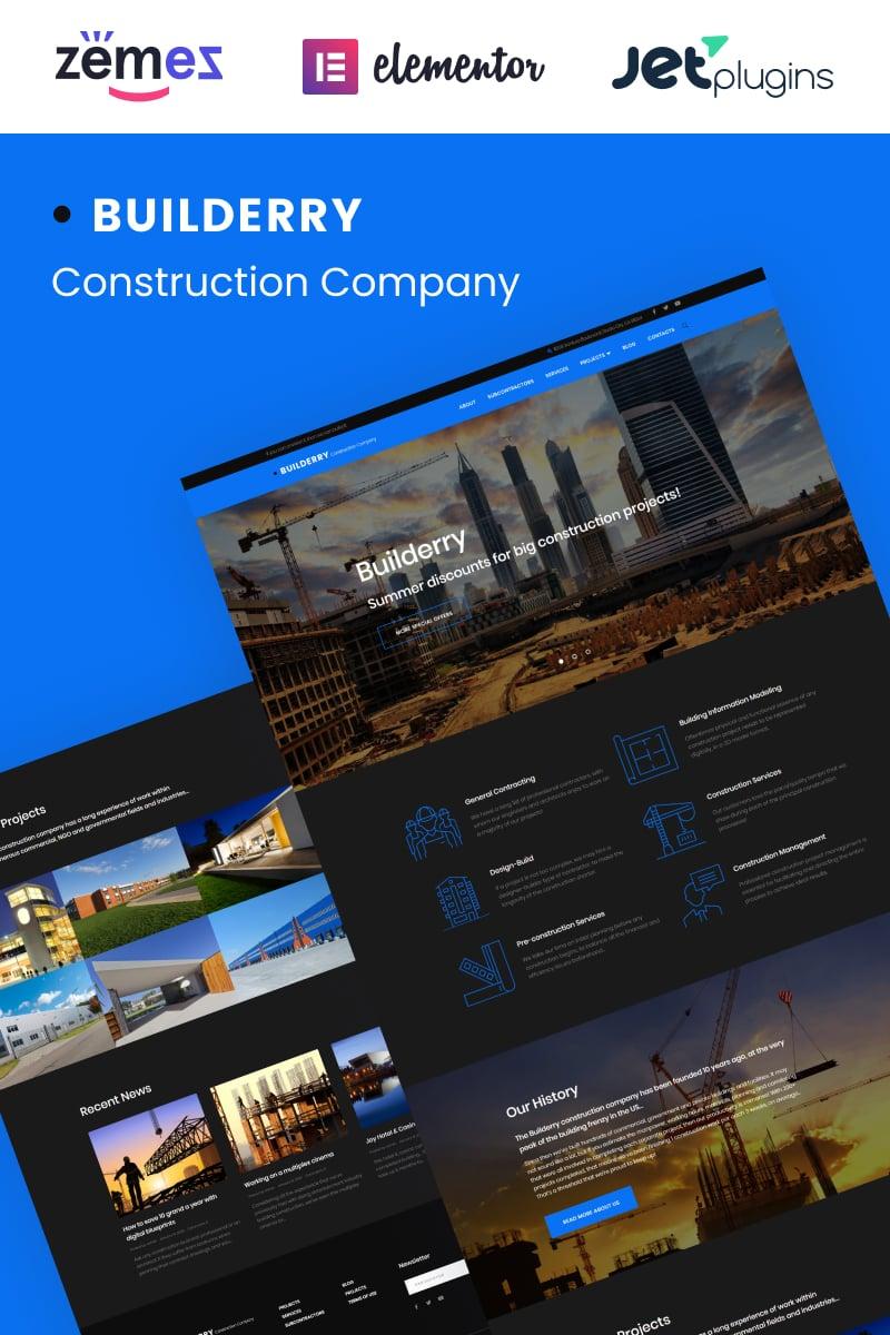 """Builderry"" - адаптивний WordPress шаблон №58891"