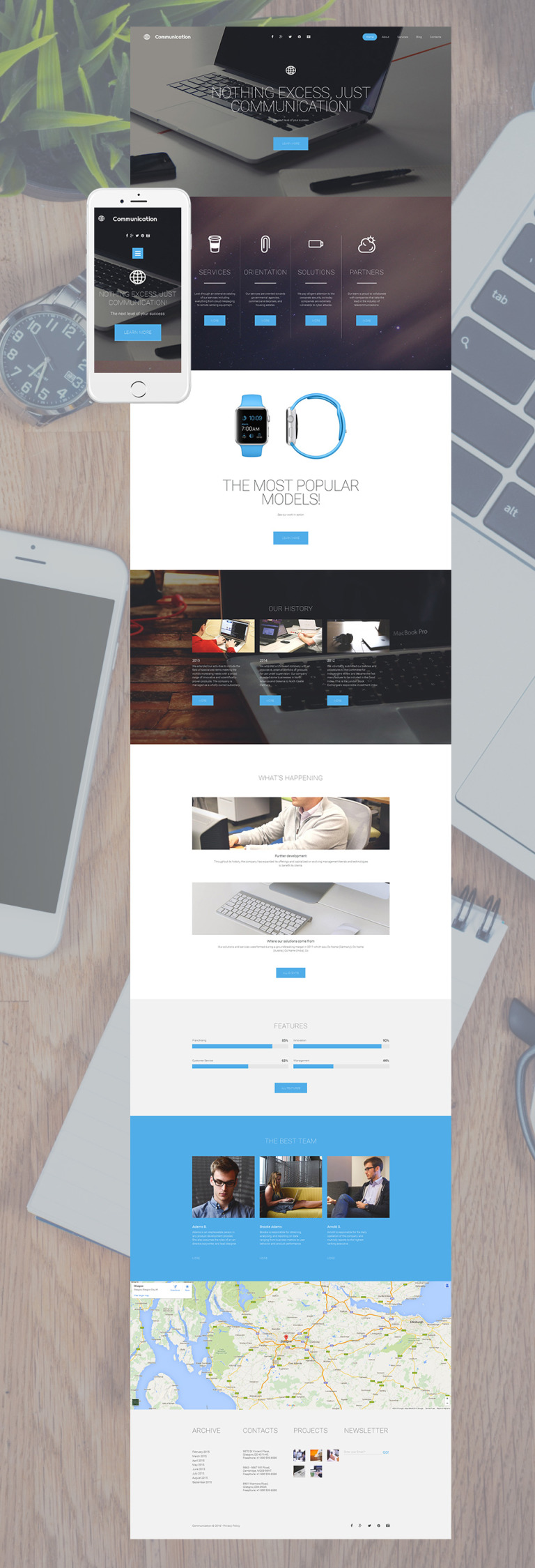 Communications Responsive Moto CMS 3 Template New Screenshots BIG