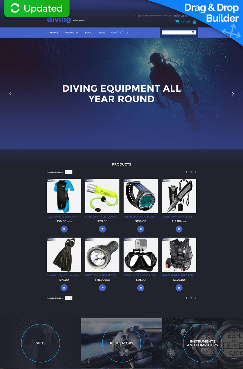 Diving Responsive MotoCMS Ecommerce Template - screenshot