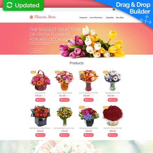 Flower Shop - MotoCMS Ecommerce Template based on Bootstrap