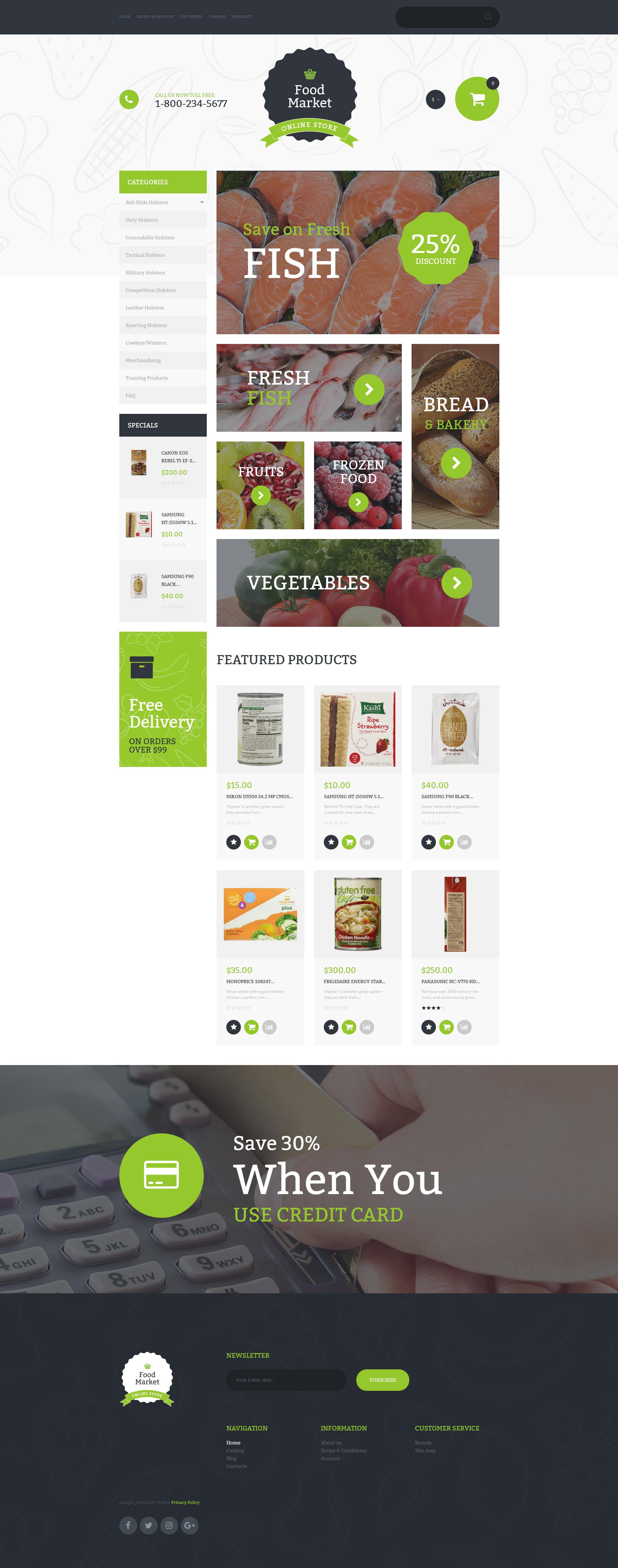 """""""Food Market"""" VirtueMart Template №58876 - screenshot"""