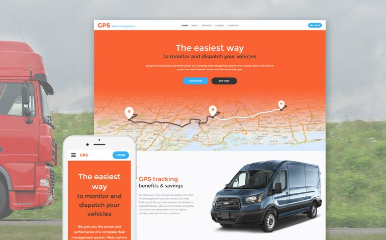 GPS Vehicle Tracking System Website Template New Screenshots BIG