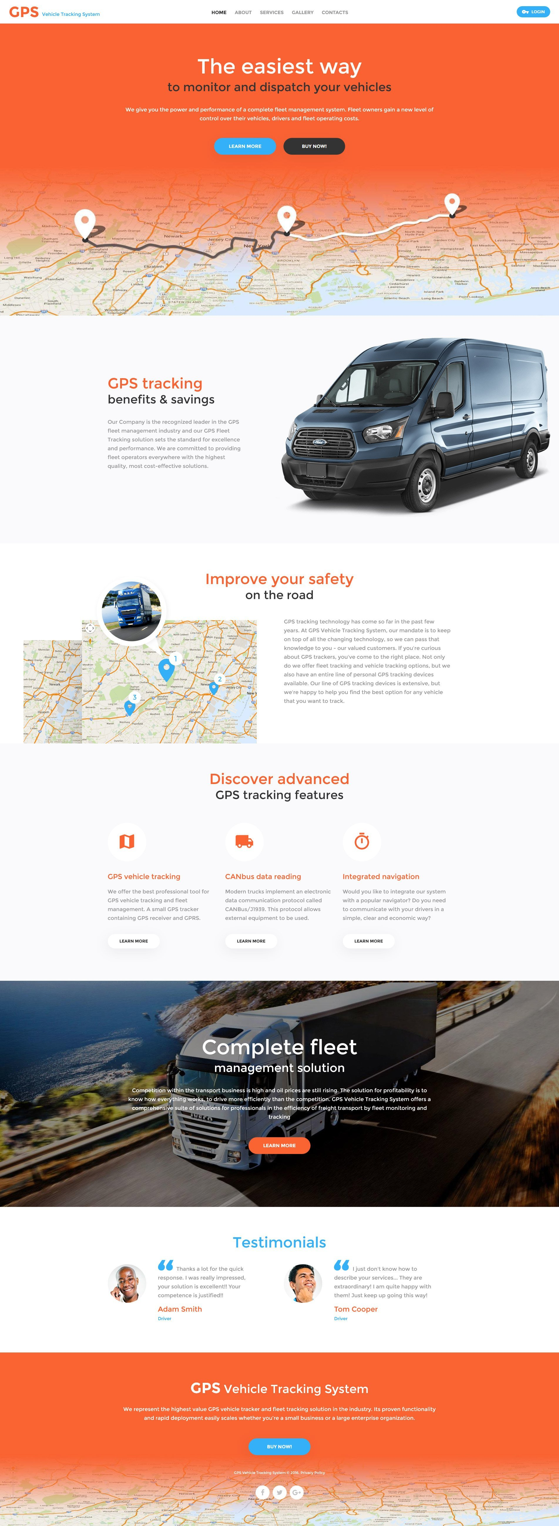GPS Vehicle Tracking System Website Template - screenshot