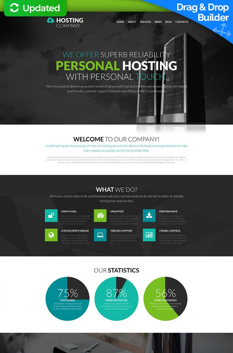 Hosting Responsive Moto CMS 3 Template New Screenshots BIG