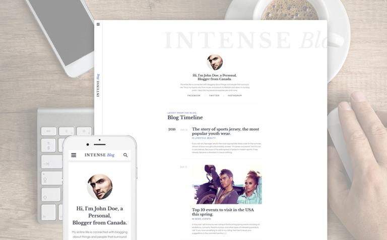 INTENSE Blog Website Template New Screenshots BIG