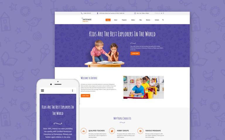 Intense Child Care Website Template New Screenshots BIG