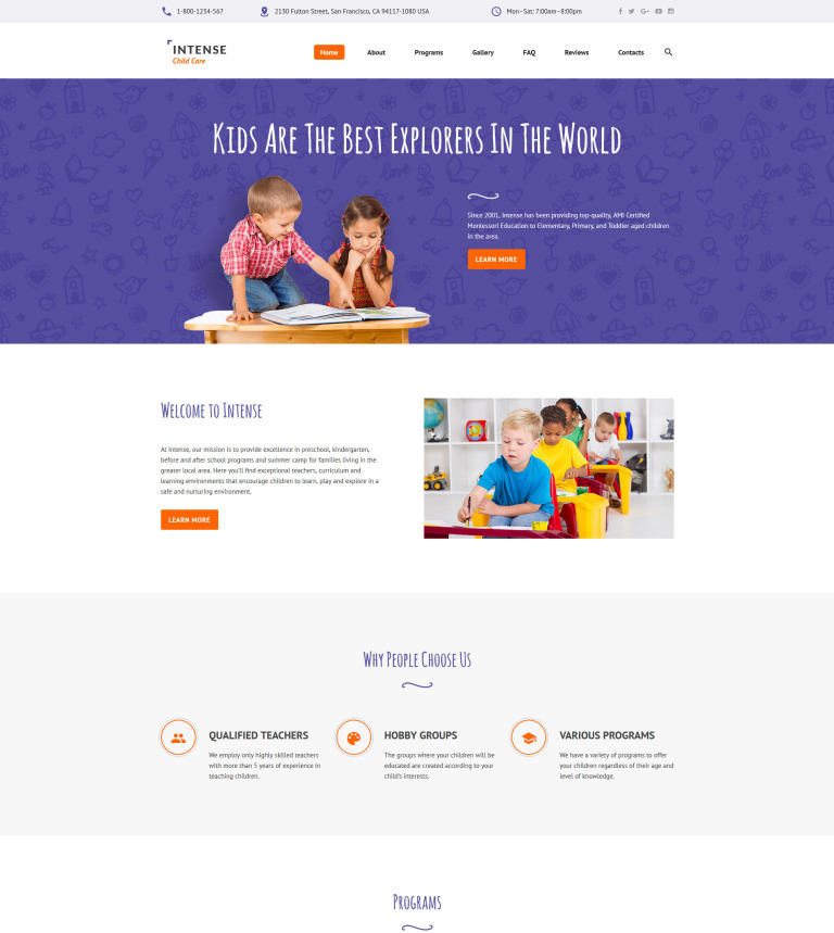 Intense Child Care Website Template