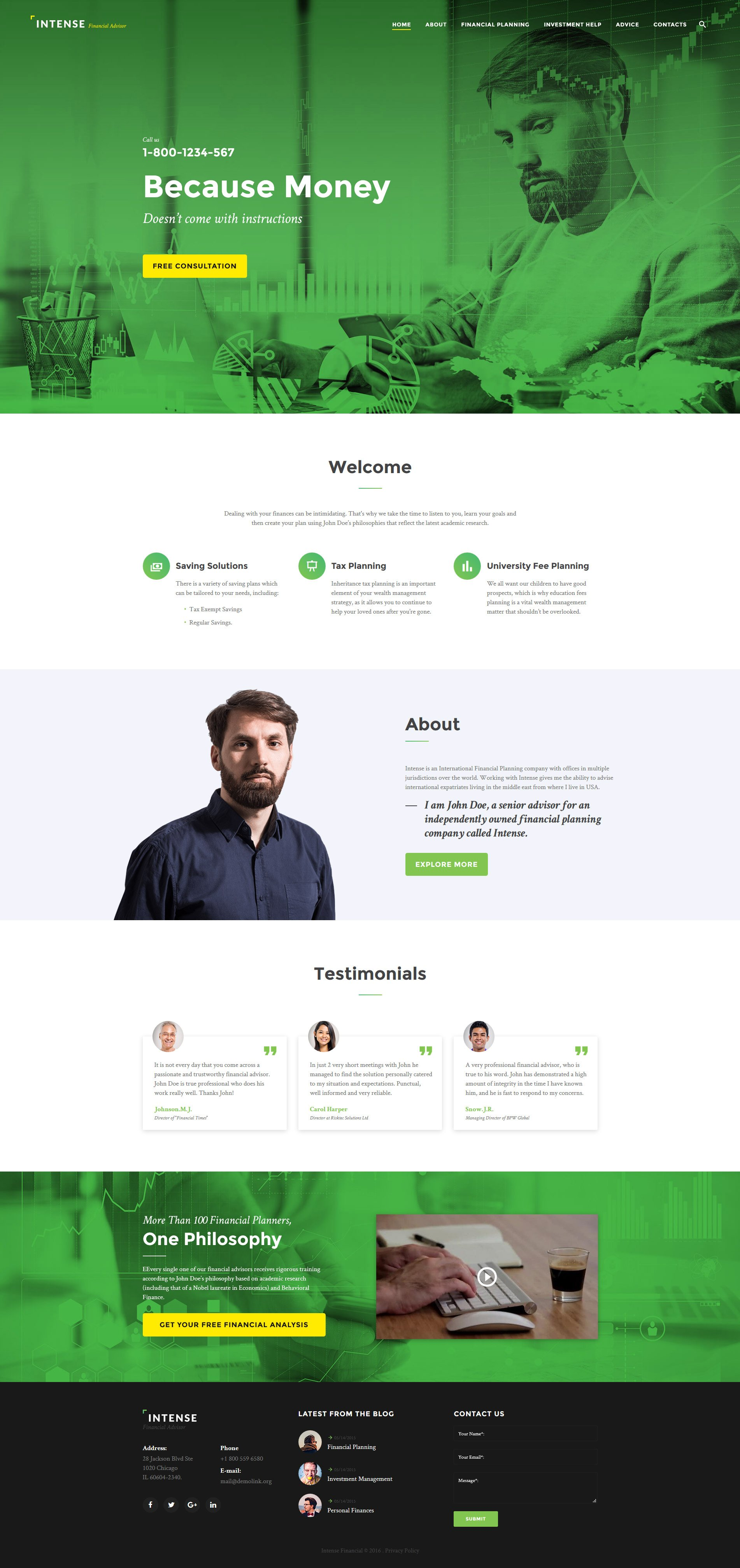 Intense Financial Advisor Website Template - screenshot