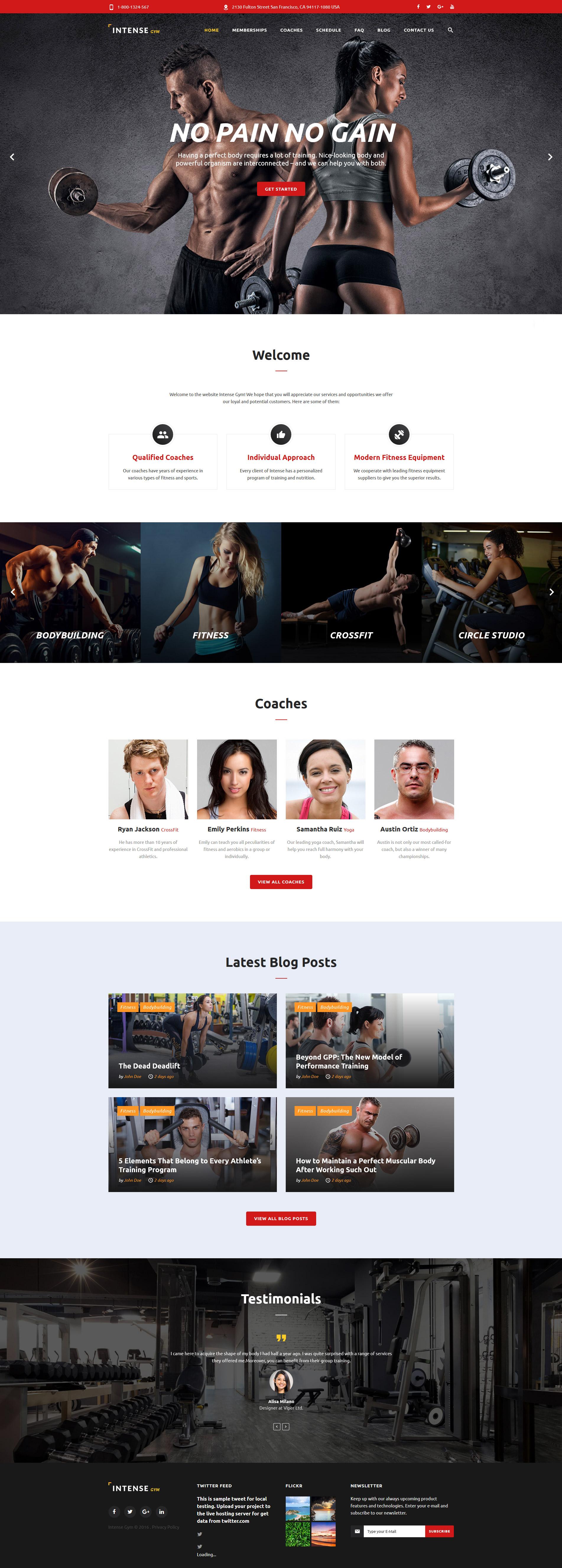 """Intense Gym"" Responsive Website template №58882"
