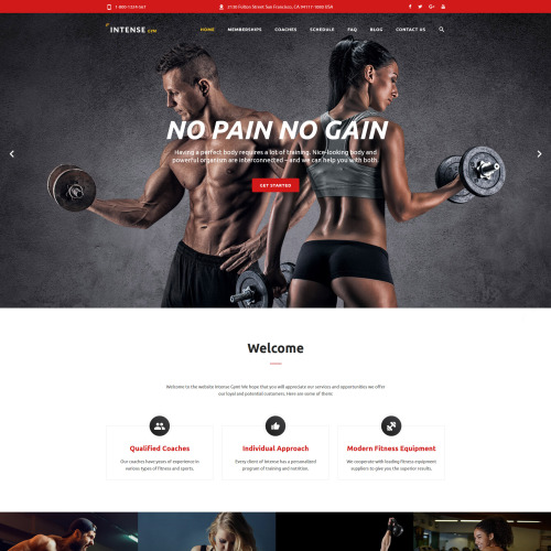 Intense Gym - Website Template based on Bootstrap