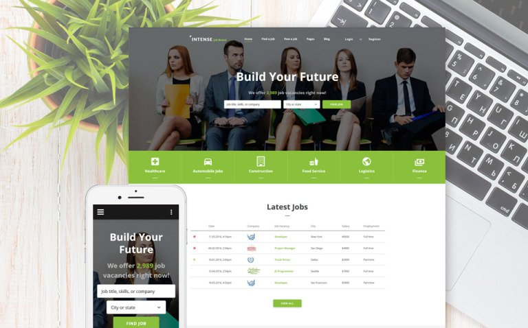 INTENSE Job Board Website Template New Screenshots BIG