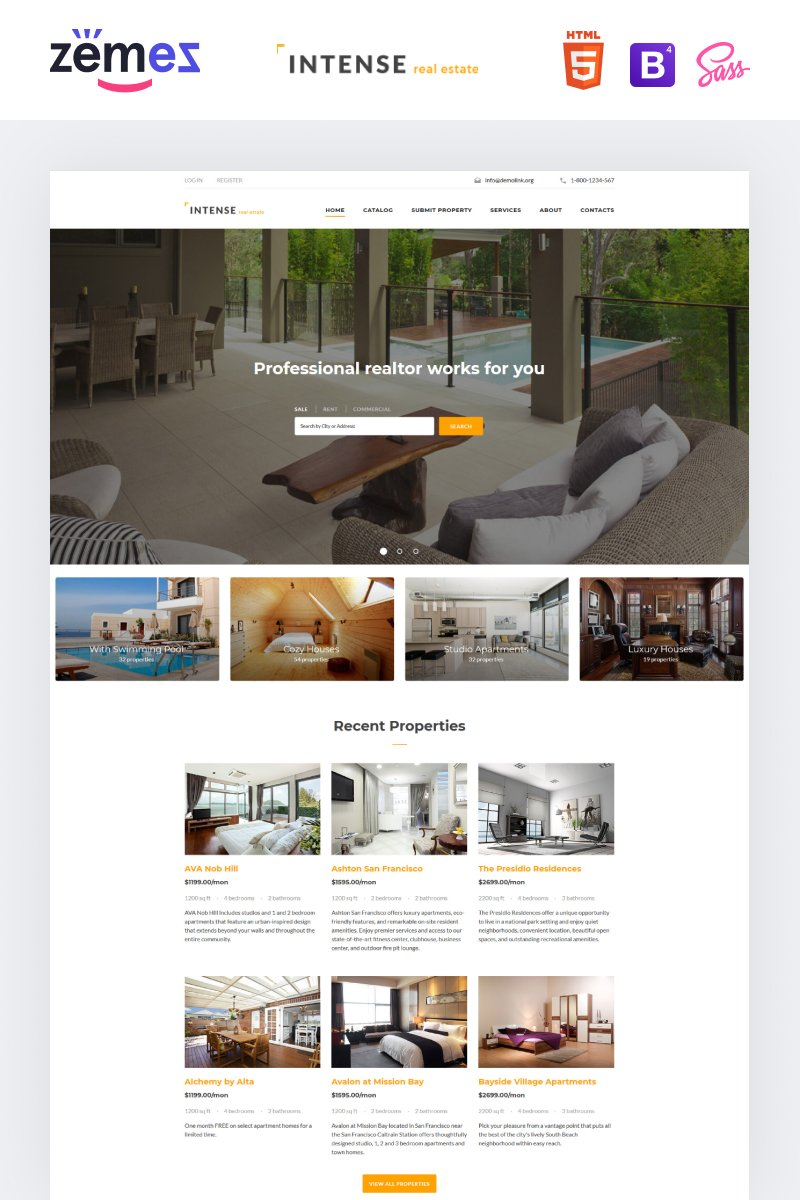 """""""INTENSE Real Estate"""" 响应式网页模板 #58887"""
