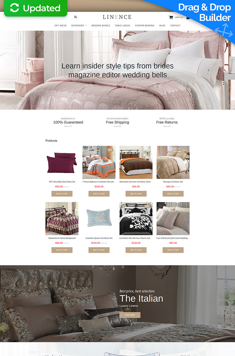 Linen Lace Responsive MotoCMS Ecommerce Template - Ecommerce template