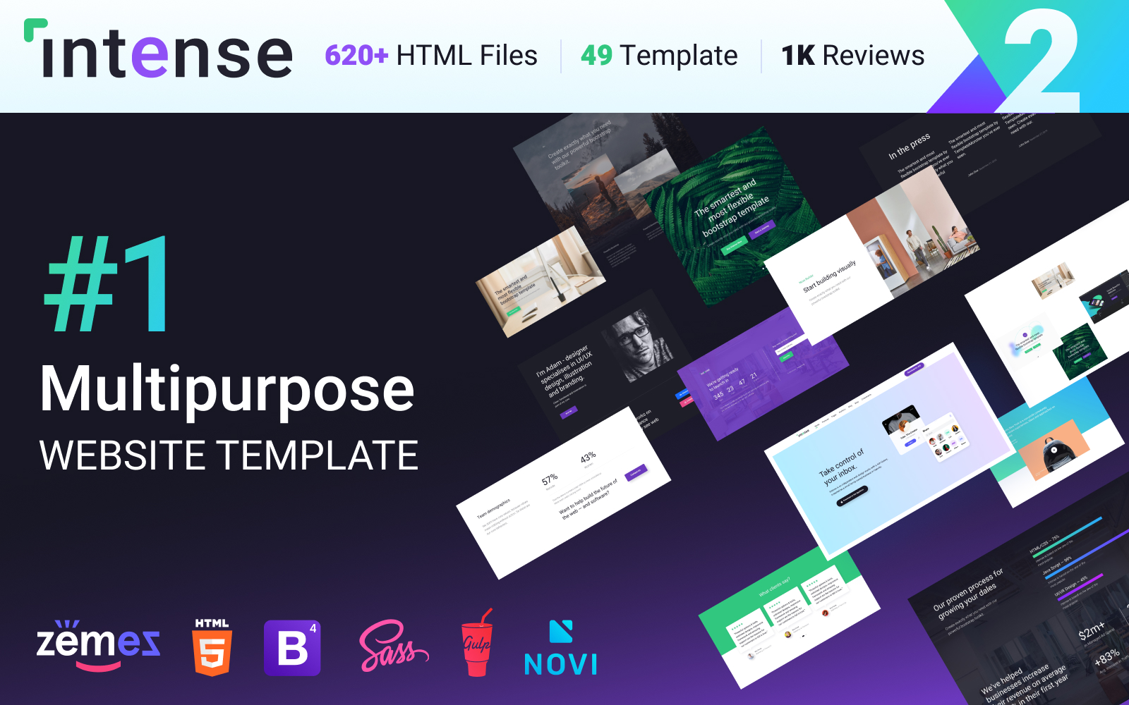 """Multipurpose Website Template Intense - #1 HTML Bootstrap"" 响应式网页模板 #58888"
