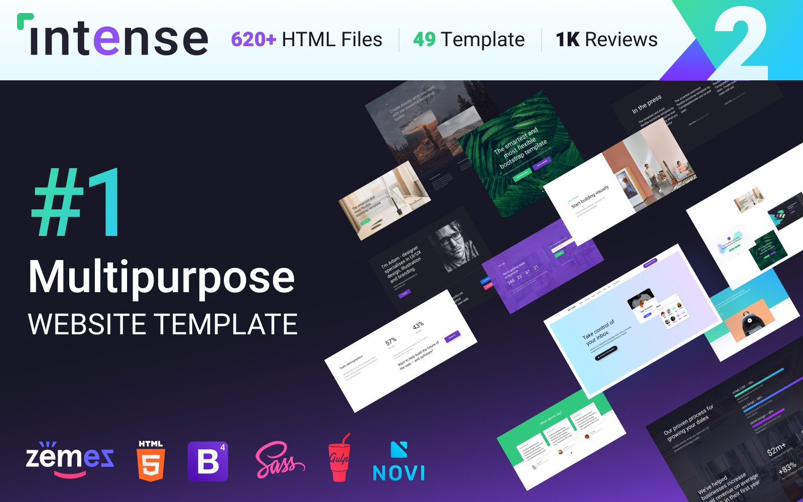 """Multipurpose Website Template Intense - â""–1 HTML Bootstrap"" modèle web adaptatif #58888"