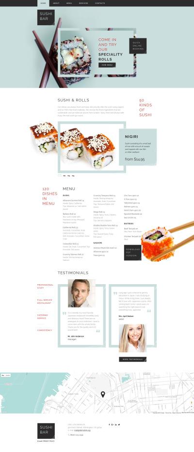 Responsive Plantilla Web #58897 para Sitio de  para Sitio de Sushi Bar