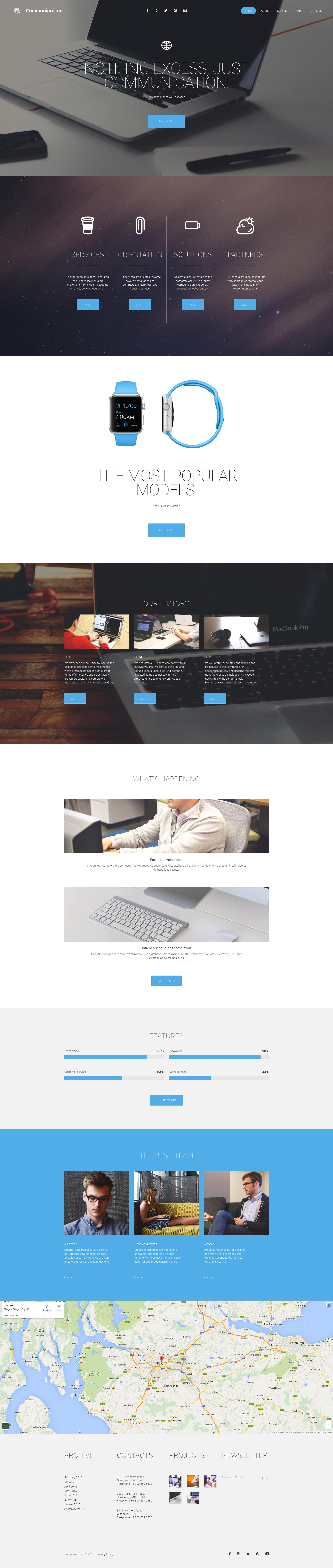 Responsive Communications Templates Moto Cms 3 #58854