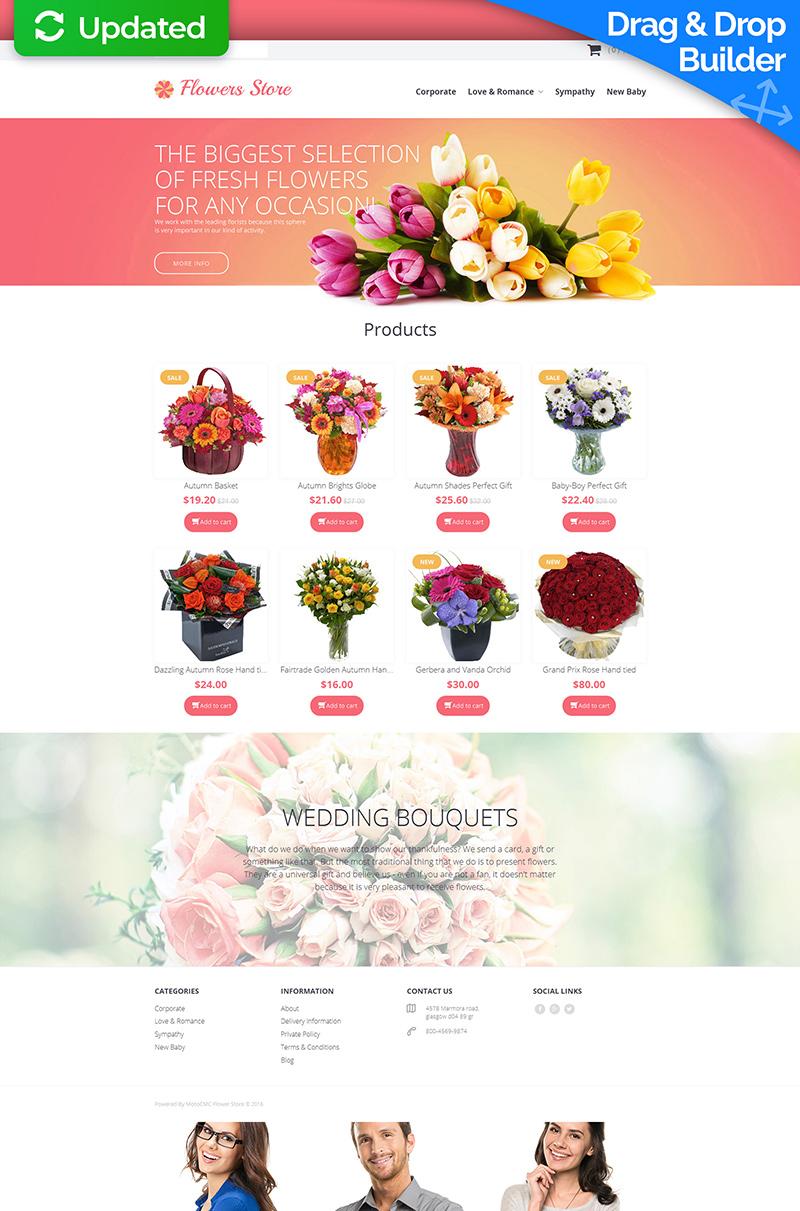 Responsive MotoCMS E-Commerce Vorlage für Blumengeschäft #58838