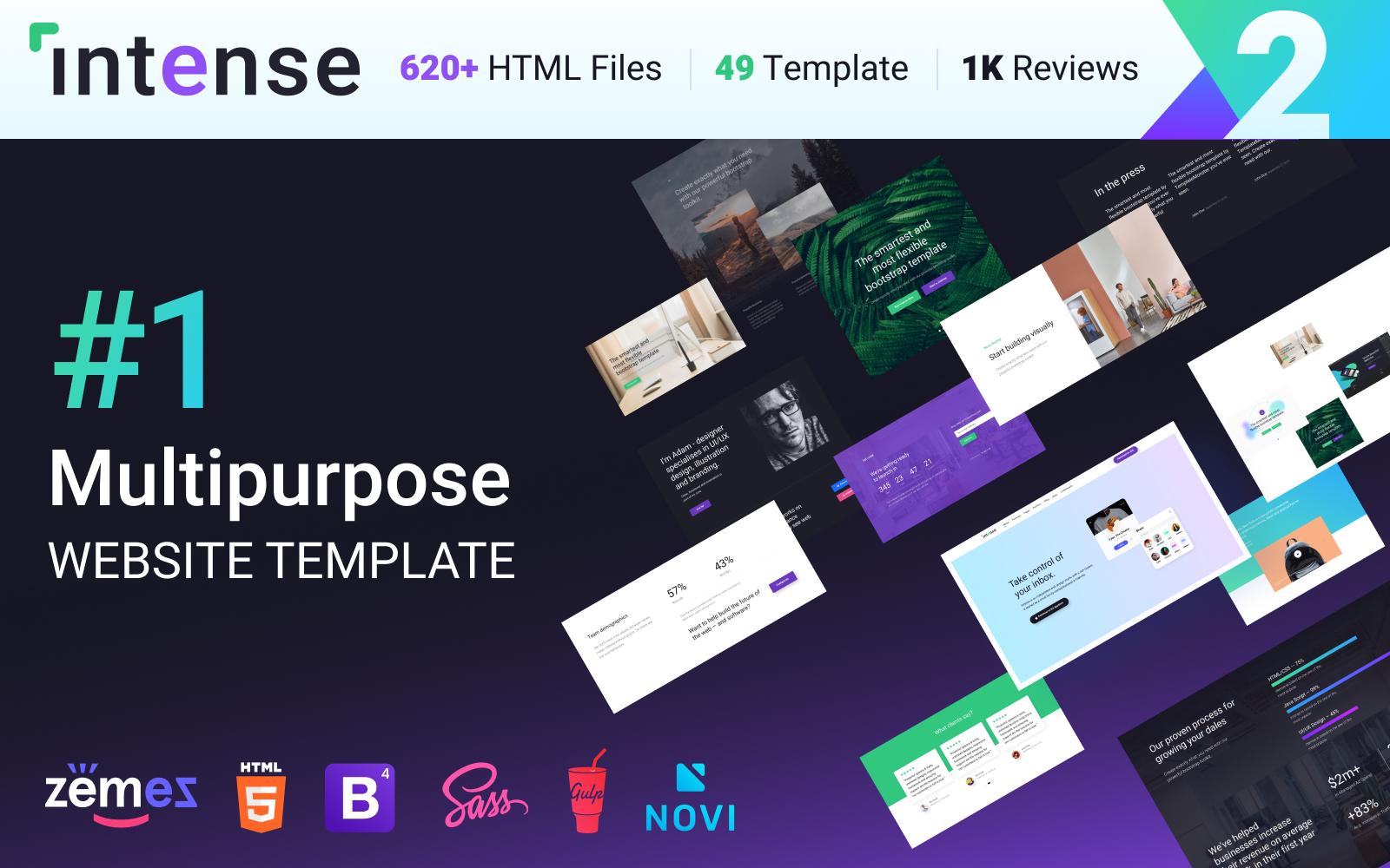 """Responzivní Šablona webových stránek """"Multipurpose Website Template Intense - â""""–1 HTML Bootstrap"""" #58888"""