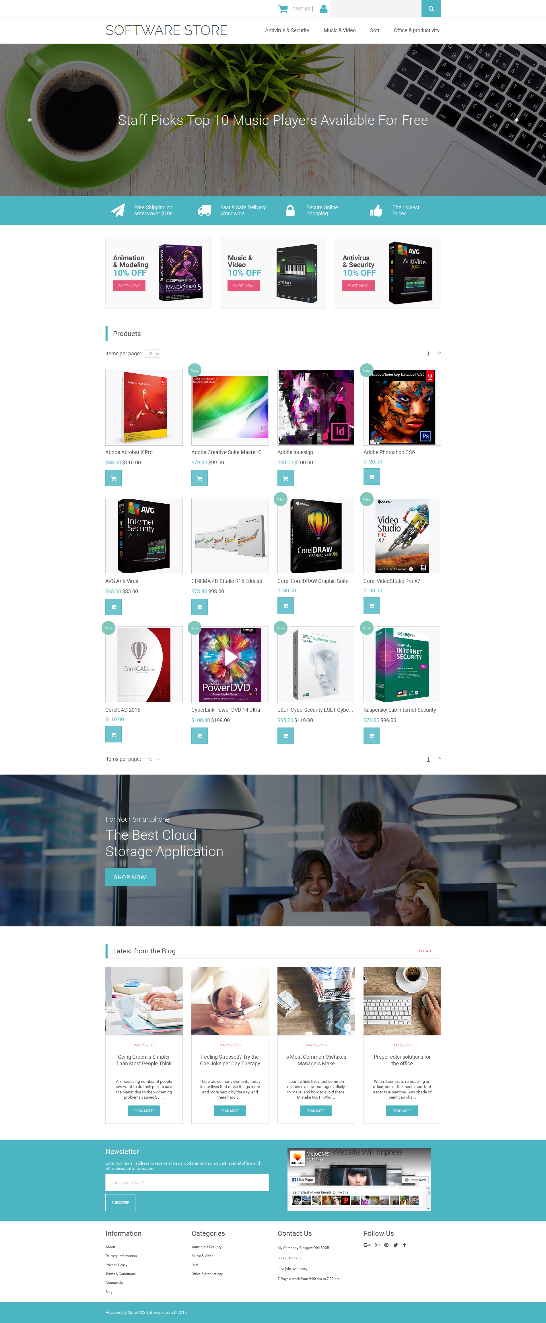 Software Store Responsive MotoCMS Ecommerce Template #58820