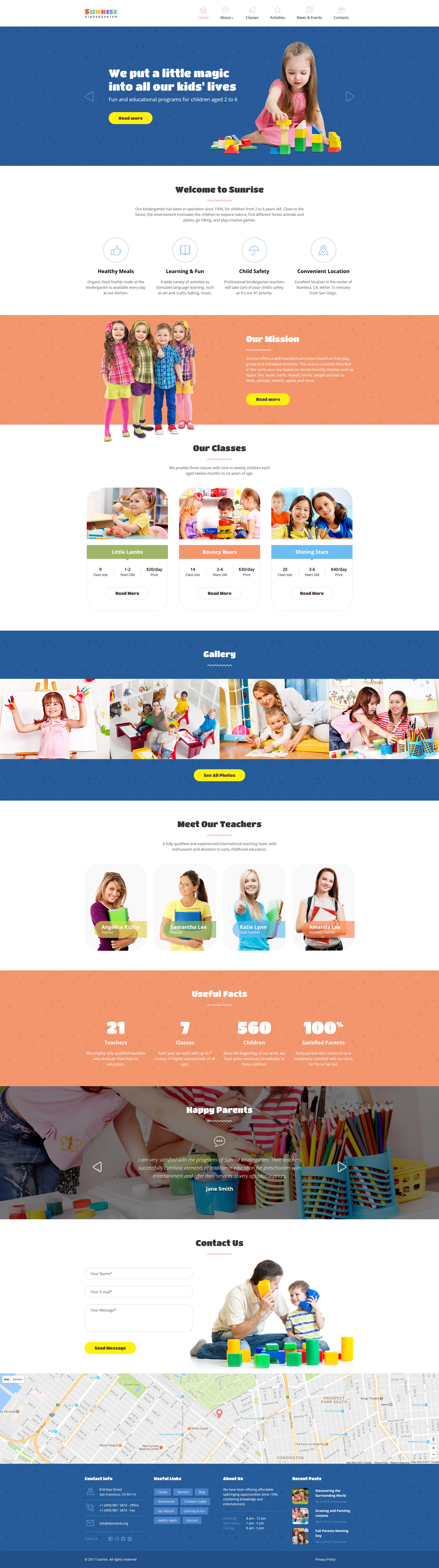 """Sunrise - Kids Center & Kindergarten Responsive"" - адаптивний Шаблон сайту №58894"