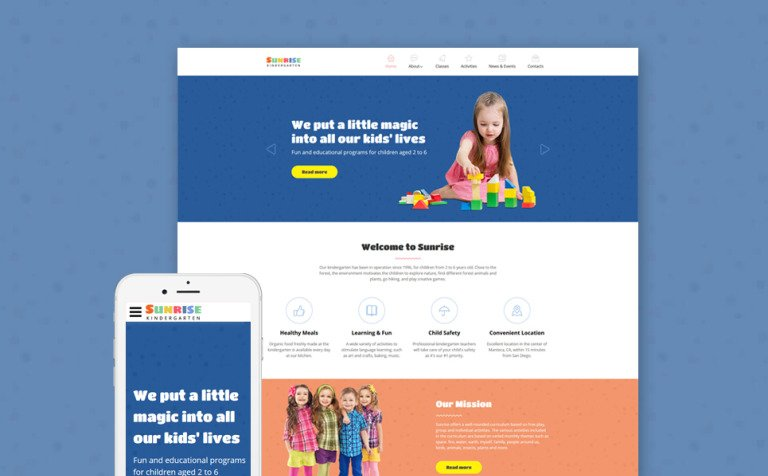 Sunrise - Kids Center & Kindergarten Responsive Website Template