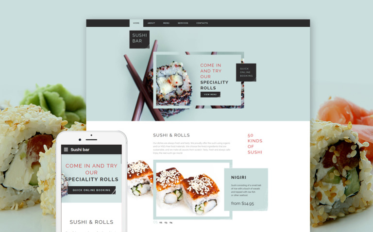 Sushi Bar Responsive Website Template New Screenshots BIG