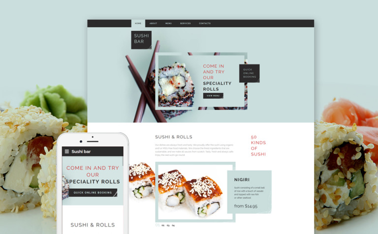 Sushi Bar Responsive Website Template #58897