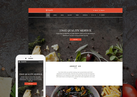 Cafe and restaurant site template
