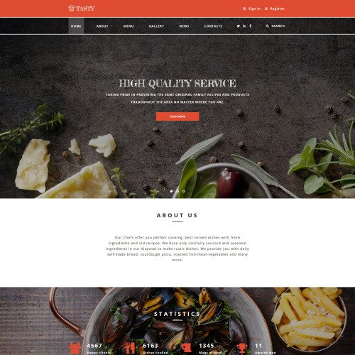 Tasty Cafe and Restaurant - Responsive Website Template