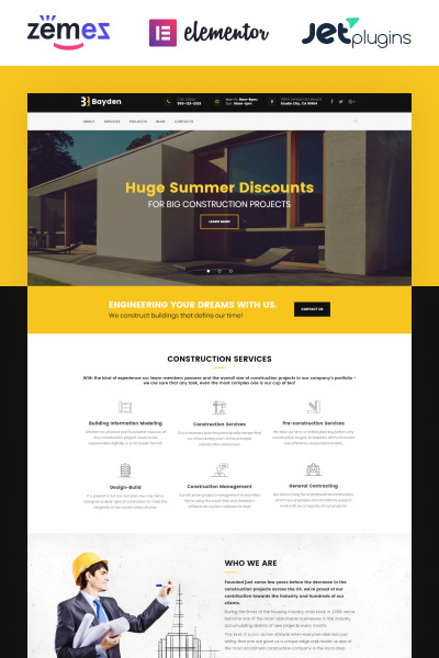 Responsive Tema De WordPress #58890 para Sitio de  para Sitio de Empresas de construcción