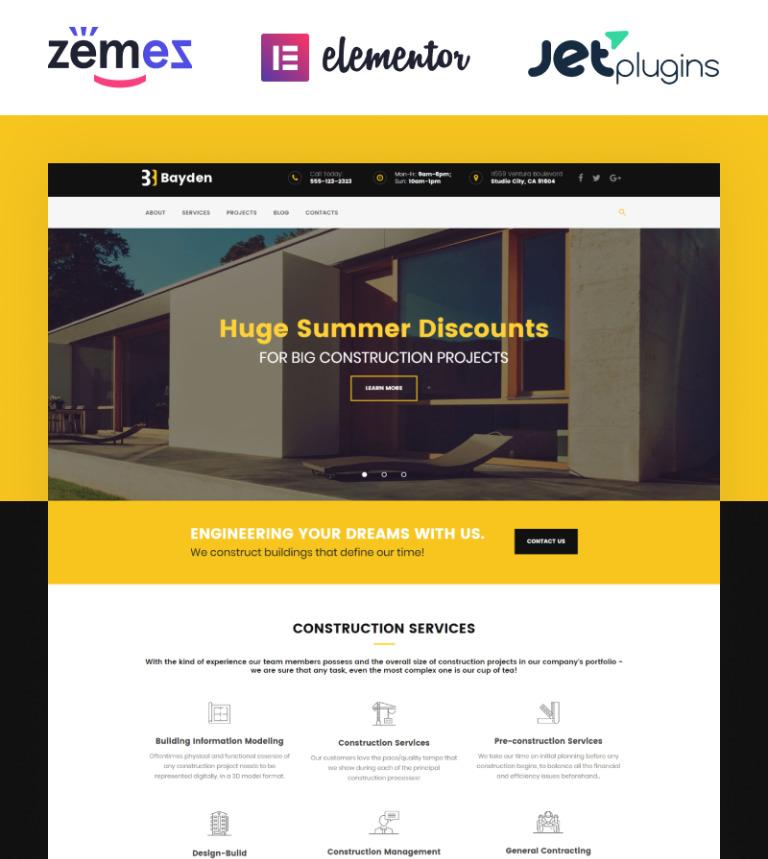 Tema de WordPress #58890 para Sitio de Empresas de construcción
